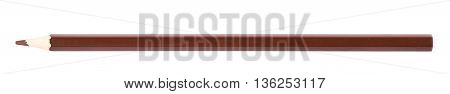 Single brown drawing pencil isolated over the white background