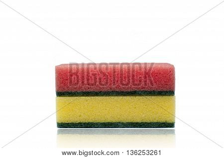 Two colored sponges a red sponge and a yellow sponge isolated on a white background