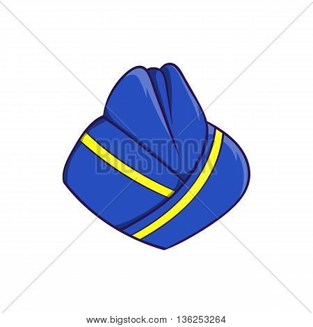 Blue forage cap of stewardess icon in cartoon style on a white background