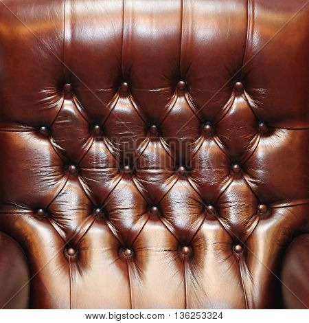 Close Up Shot of Brown Leather Upholster Pattern