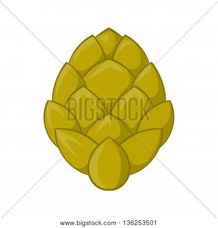Hop cone icon in cartoon style on a white background