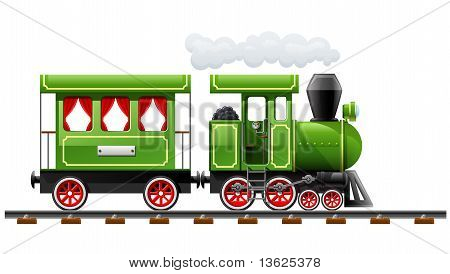 Green Retro Locomotive