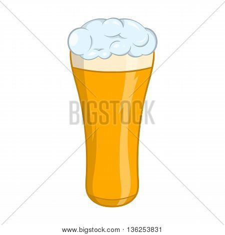 Glass of beer icon in cartoon style on a white background