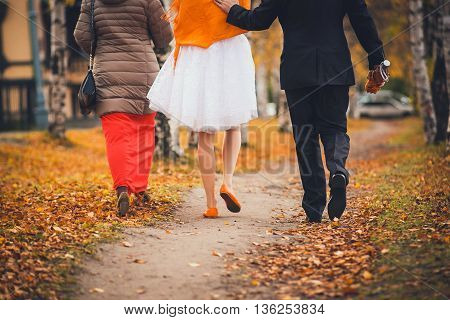 Bridesmaid, bride and groom walking in the autumn park. view from the back