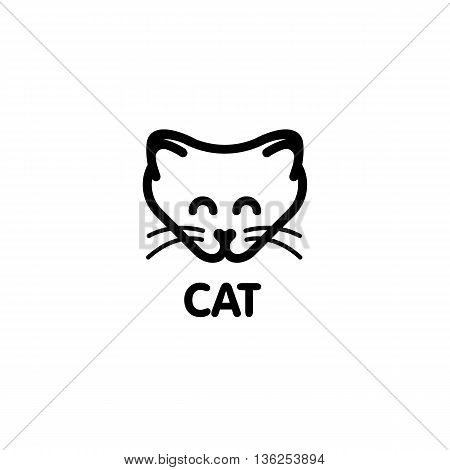 Isolated white color cat on the white background. Kitty vector illustration. Cute animal muzzle vector logo. Cartoon character head logotype. Children toy vector illustration