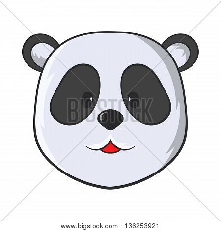Head of panda bear icon in cartoon style on a white background