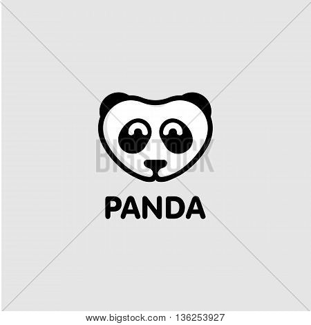 Isolated white and black color panda on the grey background. Cute animal muzzle vector logo. Cartoon character head logotype. Children toy vector illustration