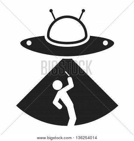 Alien ship kidnapped person. Man photographing UFO