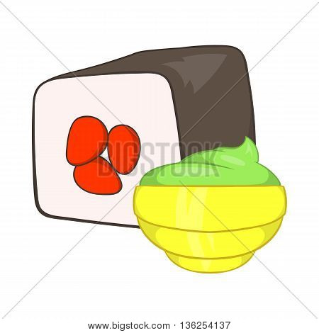 Sushi roll and wasabi icon in cartoon style on a white background