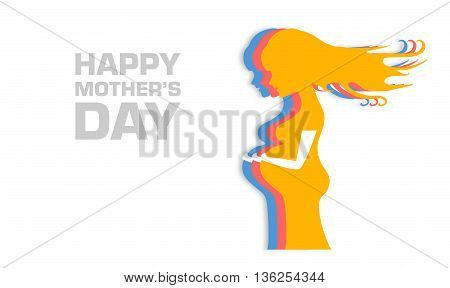 Vector colorful illustration of beautiful pregnant woman on white background. Card of Happy Mothers Day