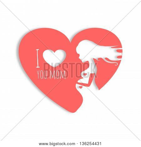 Vector pink colorful illustration of beautiful pregnant woman in heart on white background. Card of Happy Mothers Day
