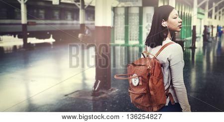Backpacker Backpack Bag Casual Wanderlust Concept