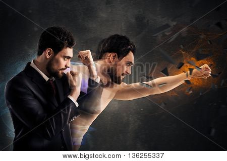Business man punch with power and determination