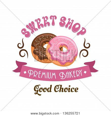 Donut shop retro cartoon badge with chocolate and pink frosted doughnuts, supplemented by vintage ribbon banner, swirling lines and header Sweet Shop