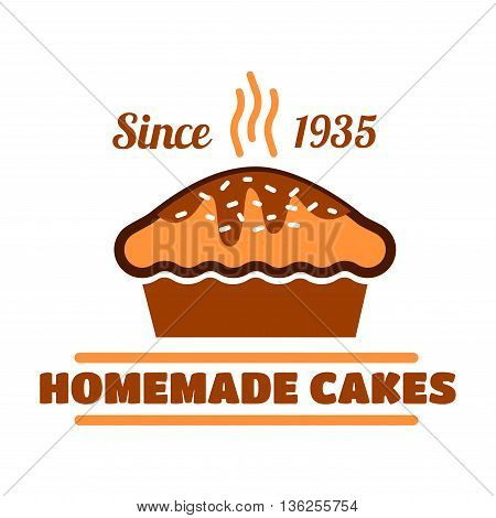 Homemade cakes and pies vintage symbol with fresh baked delicious dessert. Chocolate cake for pastry shop interior accessories or organic cafe menu design