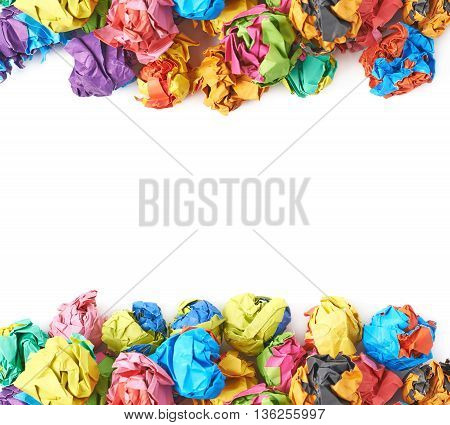 Pile of colorful crumbled paper balls, composition isolated over the white background