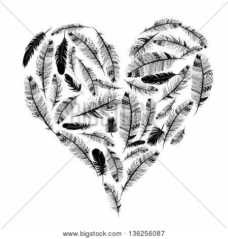 love heart ethnic indian feathers vector Valentine's day