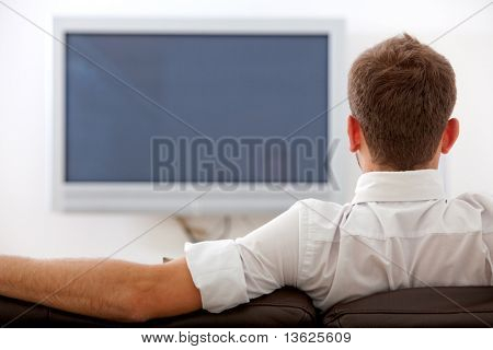 back of man watching tv on a sofa