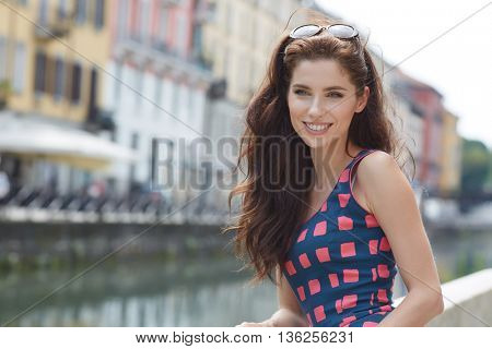 Pretty young tourist traveling in Milan, Italy