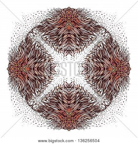 Ornamental Abstract Round Floral Pattern on White Background