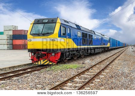 Import Export Logistics concept - Cargo train platform with freight train container at depot use for Import Export Logistics background