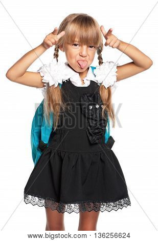Schoolgirl showing a gesture - i am cow, isolated on white background