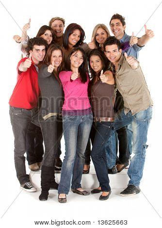 Gran grupo de personas con los pulgares para arriba aislado