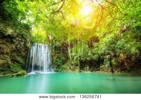 Erawan Waterfall, beautiful waterfall in spring forest in Kanchanaburi province, Thailand.