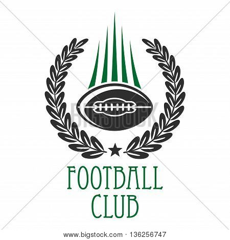 Vintage heraldic sporting symbol of flying american football ball with motion trails, framed by laurel wreath. Use as football sporting club insignia design