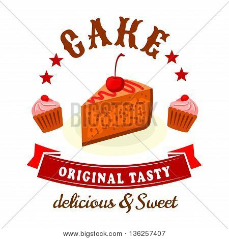 Bakery and pastry shop badge with chocolate cake and cupcakes topped with cherries and cream swirls. Delicious and sweet cakes icon supplemented by red stars and vintage ribbon banner for food packaging or menu design