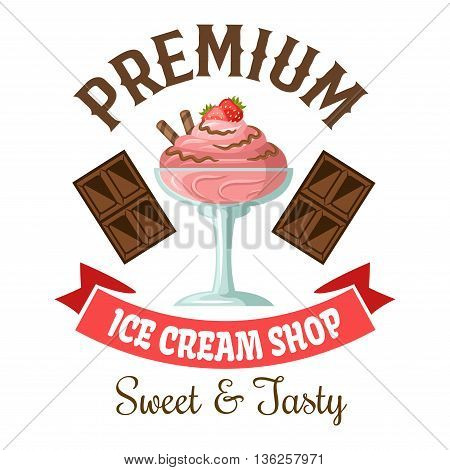 Ice cream shop symbol of strawberry gelato with chocolate and fresh fruit toppings, flanked by dark chocolate bars and vintage pale pink ribbon banner below. Great for takeaway ice cream cup or dessert menu design usage