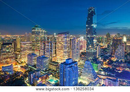 Bangkok night view in business district Thailand. Bangkok skyscraper.