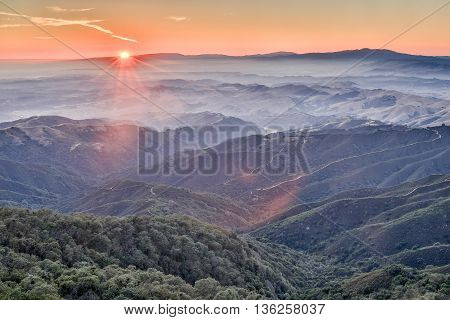 Sunset over the surrounding mountains of Fremont Peak State Park, San Benito County, California
