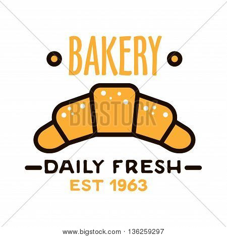 Daily fresh bakery flat linear badge with powdered fresh croissant, supplemented by date foundation below. Bakery shop design template for signboard or kraft paper bags