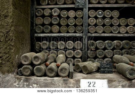 Collection Rare Wines In Massandra Winery, Yalta, Crimea