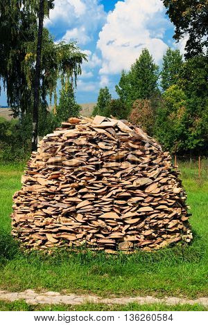 stack of firewood in the village yard