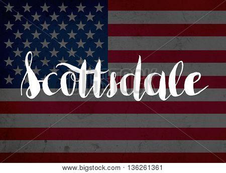 Scottsdale written with hand-written letters