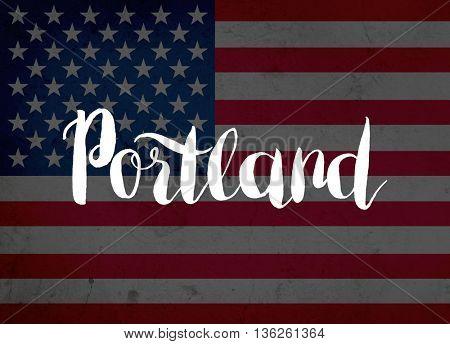 Portland written with hand-written letters