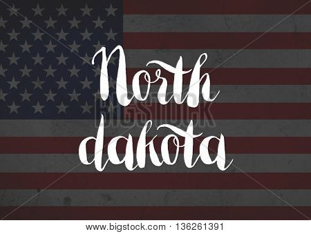 North Dakota written on flag