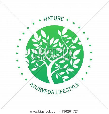 Ayurvedic vector tree icon, alternative medicine logo isolated on white. Simple vector tree with brunches and leaves. Green circle tree vector logo design template.