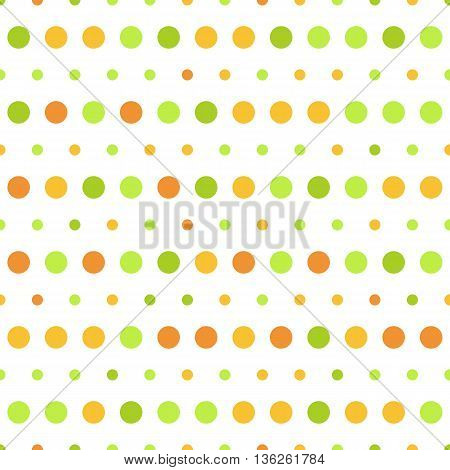 Vector pattern of big and small colorful green and orange polka dots on white background. Seamless polka dots background for scrapbooking, textile and web