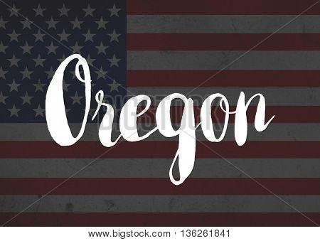 Oregon written on flag