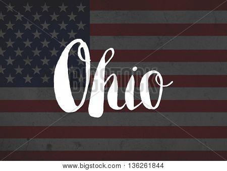 Ohio written on flag