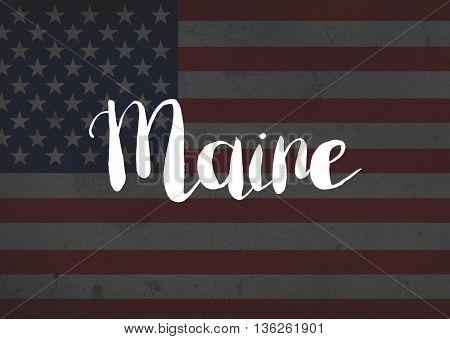 Maine written on flag