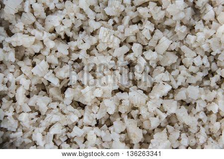 Unprocessed sea salt on the sea salt farm in Thailand
