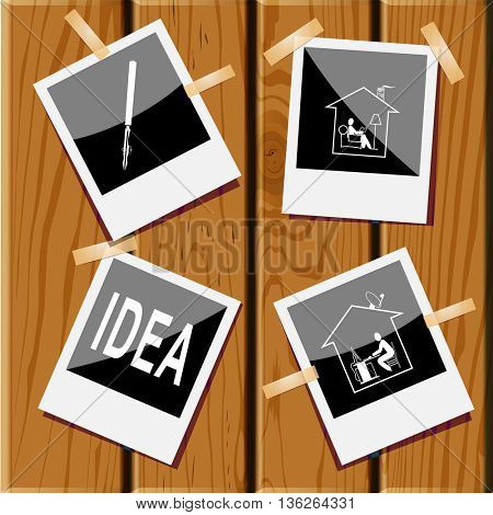 4 images: home work, home reading, idea, ruling pen. Education set. Photo frames on wooden desk. Vector icons.