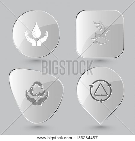 4 images: protection blood, deer, protection sea life, recycle symbol. Ecology set. Glass buttons on gray background. Vector icons.