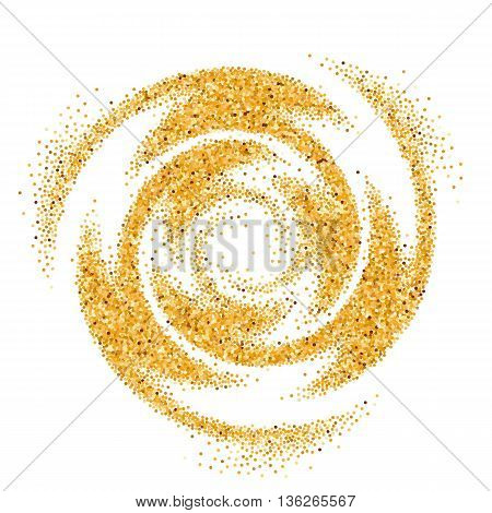 Abstract Illustration of Gold Glittering Swirl on White