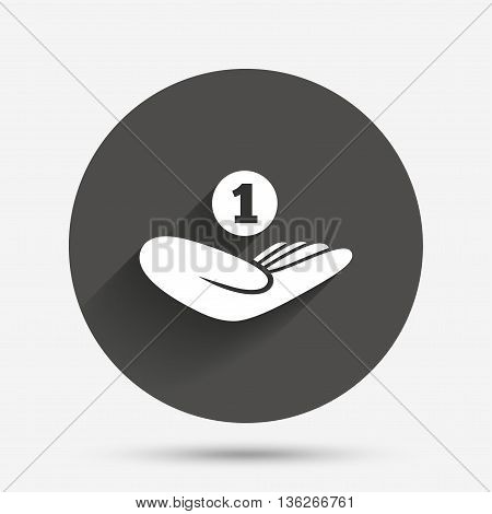 Donation hand sign icon. Hand holds coin. Charity or endowment symbol. Human helping hand palm. Circle flat button with shadow. Vector
