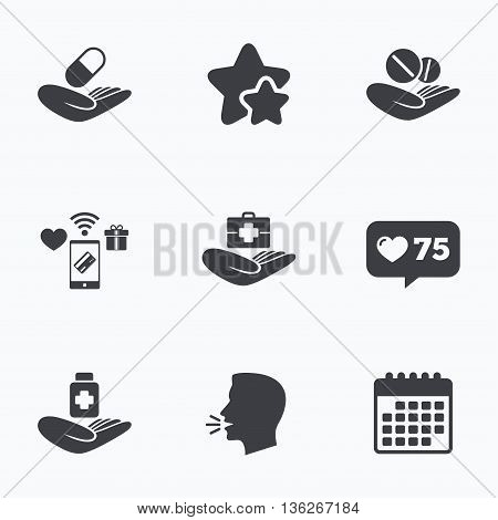 Helping hands icons. Medical health insurance symbols. Drugs pills bottle signs. Medicine tablets. Flat talking head, calendar icons. Stars, like counter icons. Vector